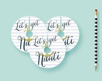 Let's Get Nauti Bachelorette Wine Tags, Bachelorette Party Decor, Hen Party Decorations Printable, Printed Wine Tags, Table Decorations