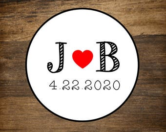 "Wedding stickers, set of 63, personalized favor labels, 1"" round stickers, custom initials with heart, bridal shower, party favor stickers"
