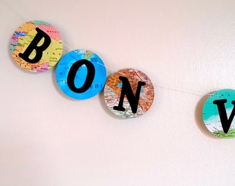 Bon Voyage Banner- World Map Farewell Garland / Banner- Map Decor - Bon Voyage Party- Farewell Party Decoration