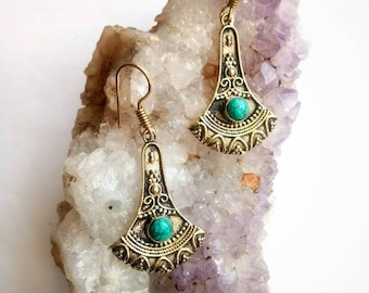 Turquoise Earrings, turquoise Jewelry, drop Earrings, Tribal Earrings, Brass Earrings, Boho Earrings. Earrings. Ethnic Earrings. Dangle.