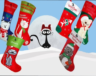 Personalised Embroidered Christmas Cat Pet Stocking 6 Designs To Choose From New