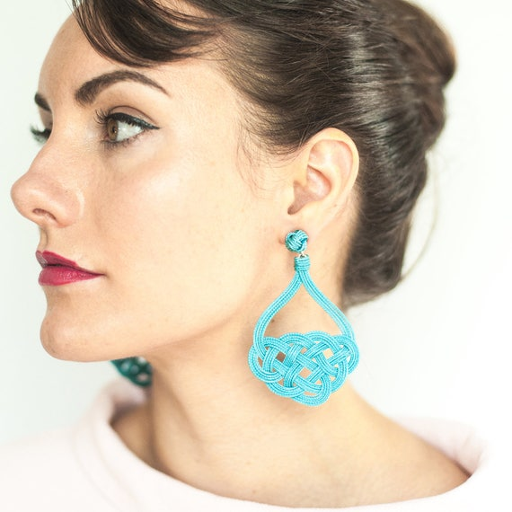 Masthead Knot Earrings / Sz Lrg / Macrame Knot Nautical Jewelry Preppy Chic Holiday Outfit Wedding Jewelry Mom Gift Fall Gift Holiday