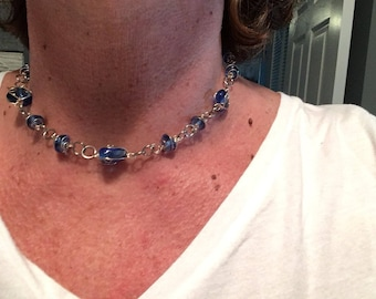Silver Glass caged beads choker