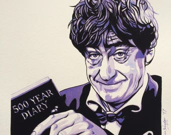 ORIGINAL watercolour/gouache painting of PATRICK TROUGHTON (Doctor Who) by Chris Naylor
