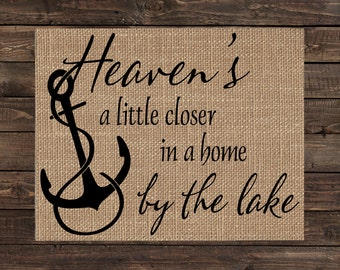 Burlap Print Home Decor Lakehouse Fabric Art Wall Hanging - Welcome to Our Cabin (#1530B)