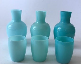 Vintage Morgantown Glass Opaque Blue Tumble Up Carafe Set Choice of 3 Shades