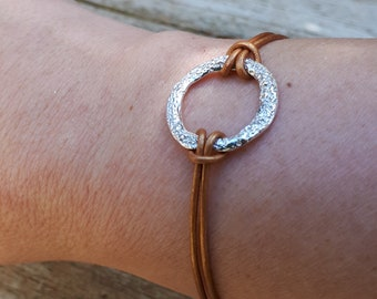 Leather Bracelet ,Leather Bracelet With Silver ,Leather Wrap Bracelet ,Leather Bracelet For Women ,Brown Leather Bracelet , Summer Sale