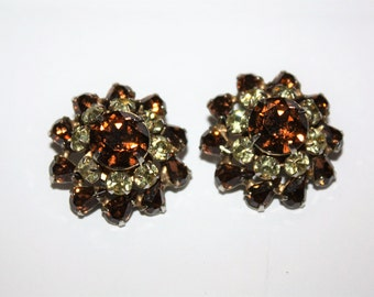 Vintage Amber Rhinestone Clip On Earrings 1950s Estate Jewelry