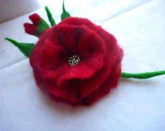 Poppy red brooch,Wool flower pins,Felt flower,Felt flower brooch,felted brooch,poppy pins, felt flower,hair clip,wool jewelry, felt flowers