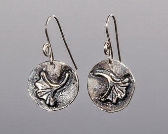 Ginkgo Leaf Earrings: sterling silver, handmade