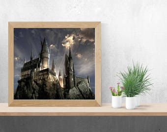 Harry Potter Inspired Hogwarts at Night Print, Oil Painting Style, Instant Download, Digital Print
