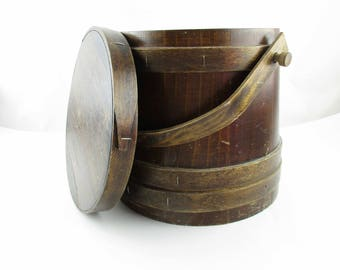 Wood Bucket With Lid - Firkin Sugar Pail With Bent Wood Handle - Primitive - Rustic Chic - Display - Kitchen - Ranch - Farmhouse Decor