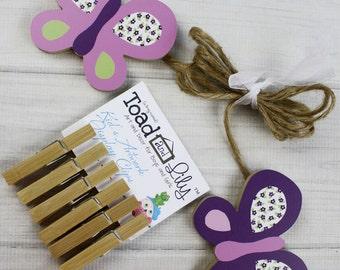 Sugar Plum Butterfly Girls Wooden Wall Art DISPLAY CLIPS for Kids Bedroom Baby Nursery Playroom AC0023