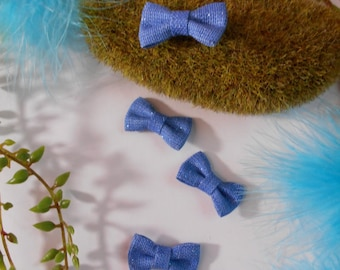 Set of 4 small bows with glitter - blue - 2.7 cm / 1.6 cm