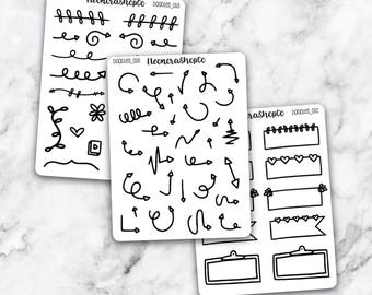 HAND DRAW DOODLES Stickers — doodles_01 A-B-C