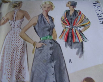 SALE Vintage 1950's McCall's 9217 Dress and Stole Sewing Pattern, Size 14, Bust 32