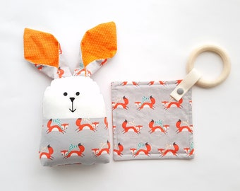 Orange Baby  rattle bunny toy and wood teether set, Baby gift set, Baby shower gift set, Rattle toy set, New mom gift, Newborn gift