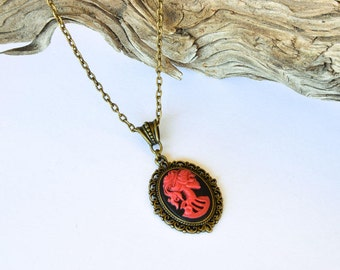 Red Skull Cameo Necklace / Skulls / Antique Bronze Necklace / Gift For Her / Lolita Jewelry / Goth Necklace / Red and Black