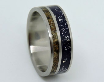 Titanium  Meteorite and Dinosaur Bone Ring, Wedding Ring,Blue Stardust Wedding Band,Meteorite Shavings Band,