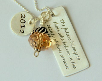 Graduation Gift From Mom - Gift For Graduate from Mom - Sterling Graduation Jewelry - Graduate Gift - Follow Dreams Quote - High School