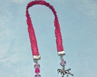 Horse Bookmark~Horse Lovers Bookmark; Horse & Pink beaded bookmark; Ribbon Bookmark; Girls-Teens-Young Ladies-Horse riders; Horse lovers