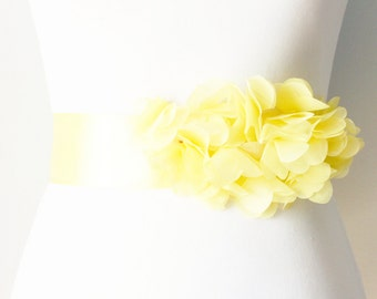 Bridal Couture - Yellow Chiffon Flowers Ribbon Sash Belt - Wedding Dress Sashes Belts - Lemon Yellow