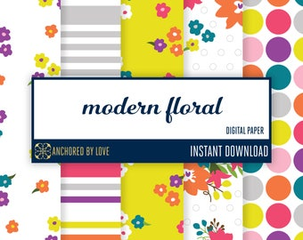 Modern Floral Digital Paper | Spring Digital Paper | Polka Dot Digital Paper | Modern Flower Digital Paper | Yellow Floral Paper | Striped