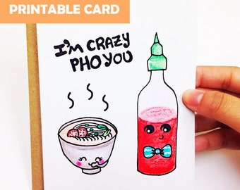 Funny love card, cute love card, funny anniversary card, cute anniversary card for boyfriend, for husband, i'm crazy pho you, printable card