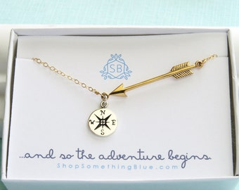 Arrow & Compass Necklace • Traveler Gift • Adventure • College Graduation • Big Journey • Compass Rose • The Adventure Begins