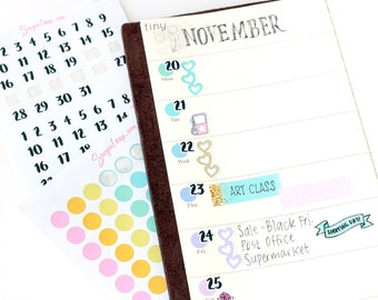 Date Numbers, Date Cover Planner Stickers, Brush Lettering, Bullet Journal Stickers, Days of The Month Stickers, Date Stickers, 1-31, DAT10