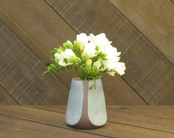 Triangle Vase - Vase - Ceramic Vase - Pottery Vase - Wheel Thrown - Reduction - Tin White Glaze - Go Play Clay - Guiliotis - Made to Order