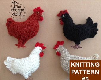 Tree Change Dolls® Knitting Pattern #5 Clucky Chook, by Sonia & Silvia Singh