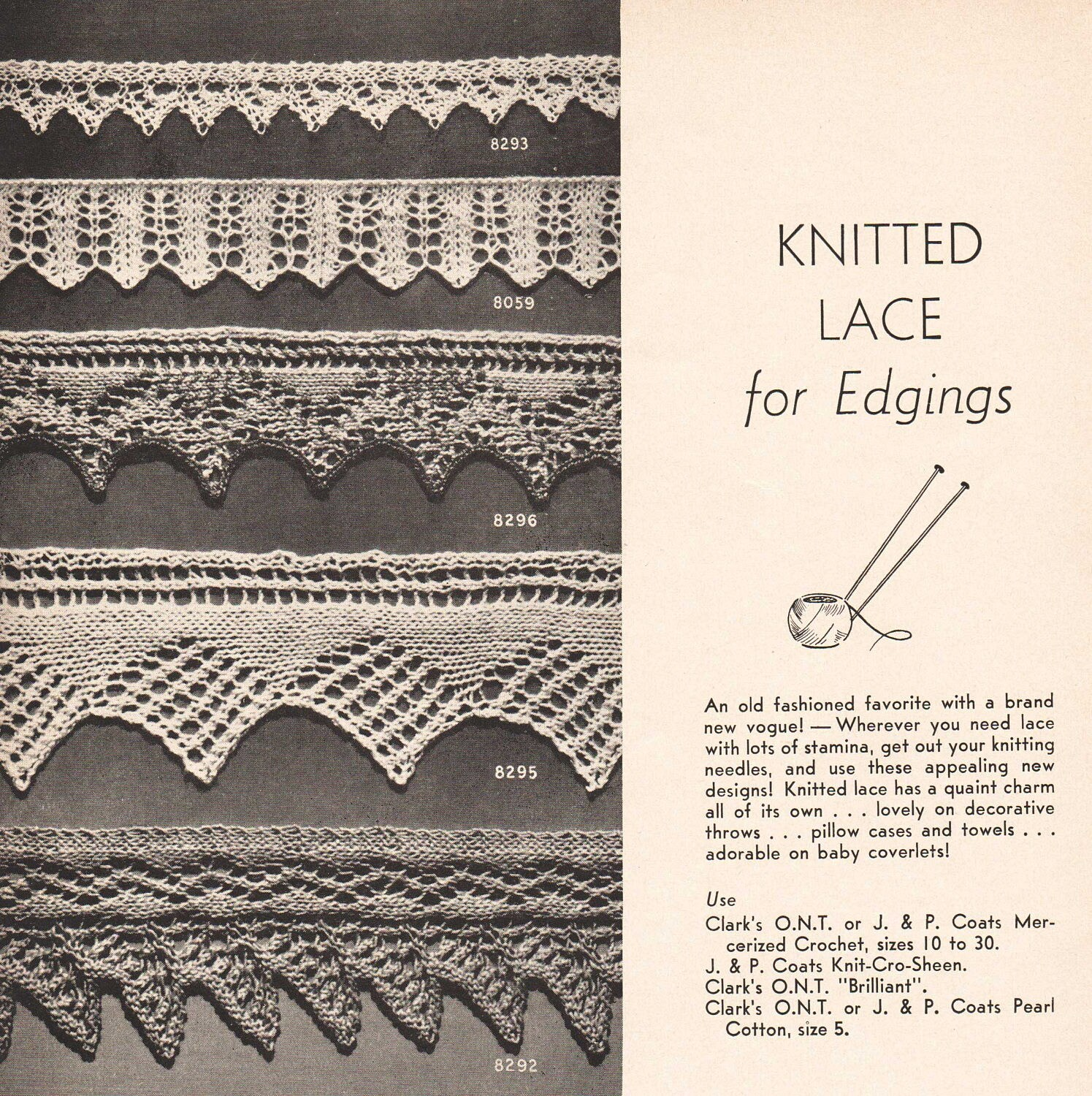 Crocheted Edging Pattern Book 109 Knitted and Crochet Edging A ...
