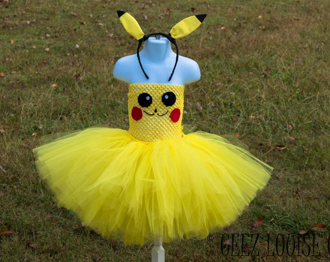 Pikachu Halloween Costume Tutu Inspired Girl Skirt Boutique Bows Clothing Baby Toddler yellow Outfit