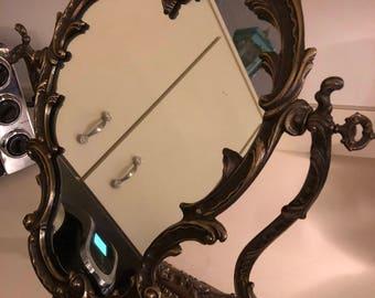 Hollywood Regency Brass Vanity Mirror