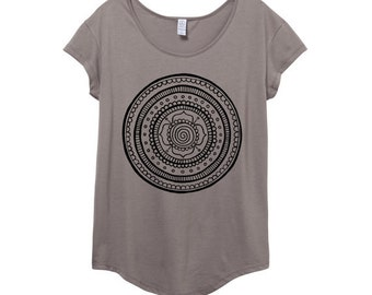 Boho Mandala Shirt - Womens Origin Cotton Modal T-Shirt -  Small, Medium, Large, XL