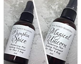 BODY MIST, Choose your scent, Hair Mist , Hair Perfume , Moisturizing Body MistValentine's Day Gifts
