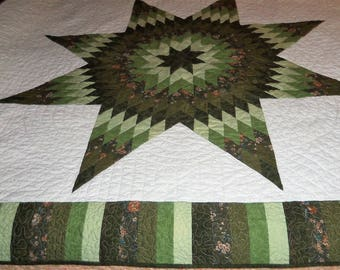 Twin Bed Quilt, Lap Size, Lonestar, Star of Bethlehem. Machine Quilted. 62x72 Inches, Handmade, Green White