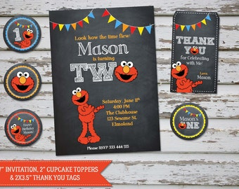 Elmo Birthday Invitation, Elmo Invitation, Elmo Invite, Elmo Party, Elmo Birthday, Elmo Thank You favor tags, Elmo cupcake toppers DIY