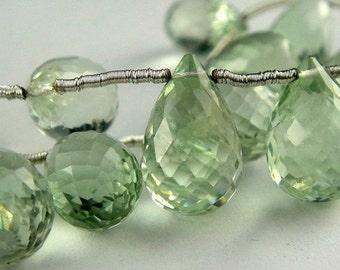 Green Amethyst Teardrop Briolette, Faceted Green Prasiolite, 1 FOCAL for Pendant, 12-14mm
