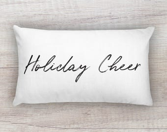 Holiday Cheer Festive Print Typography Minimalist Decor Rectangular Pillow 12x20