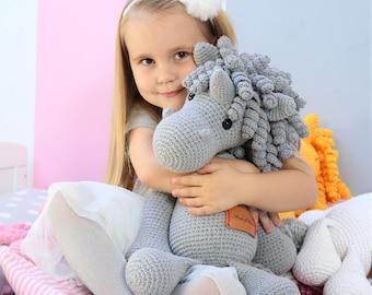 BIG XL Crocheted Gray Unicorn Plush, Unicorn Amigurumi, Unicorn Stuffed Animal Toy, Unicorn Plushie, Unicorn Stuffed Toy, Unicorn Soft Toy