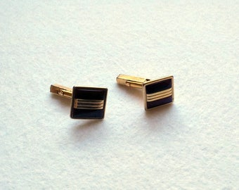 Cuff Links Vintage Rolled Gold Plate Wine Red Swank Cufflinks Signed