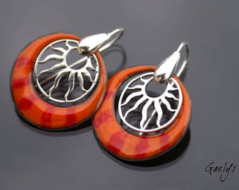 Cheshir - earrings, sterling silver and enamelled copper - Bohemia - Gaelys