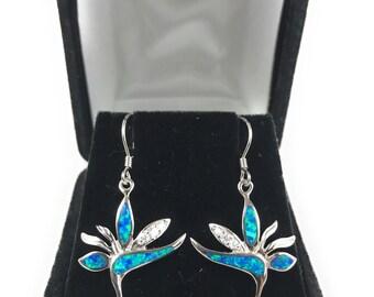 Hawaiian Jewelry 925 Sterling Silver Blue Opal Birds of Paradise CZ