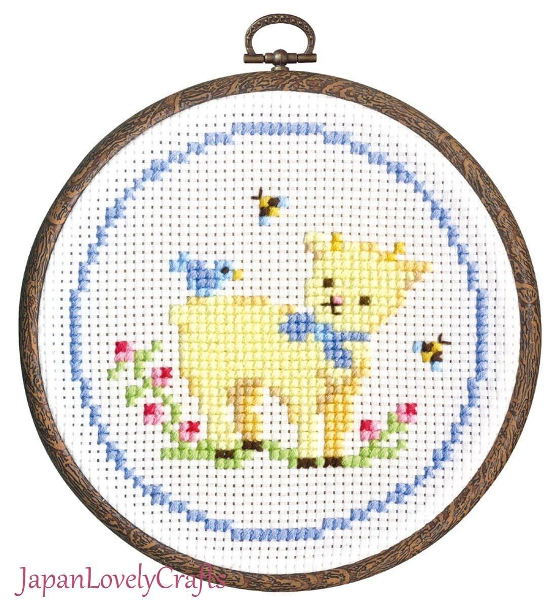 Japanese Counted Cross Stitch Kit Tutorial Kawaii Baby Goat &