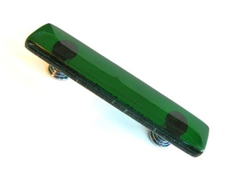 Emerald Green Fused Glass Drawer Pull or Cabinet Handle - Custom sizes and Screw Placement