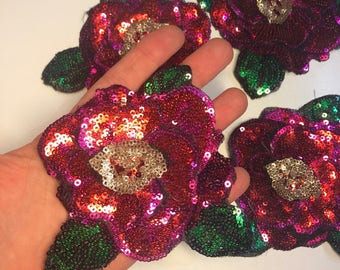 Sequins patch pink flower. Flower patch