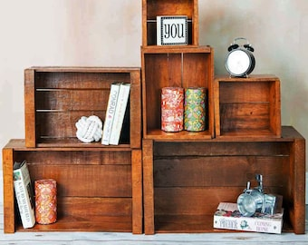 Wooden Crate Rustic Storage | Rustic Home Decor • Farmhouse Decor • Reclaimed Pallet Wood • Shelving • Side Table (Set of 6, Dark)
