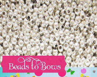 Qty 150, 300 SILVER 3 MM Spacer Beads, metal spacer beads, round Silver spacer beads, bubblegum spacer beads silver spacer bead hole 1.2mm
